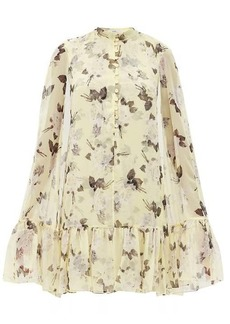 Erdem Constantine Rosemont Wallpaper-print cape dress