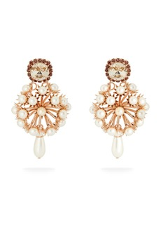 Erdem Crystal-embellished rose gold-tone drop earrings
