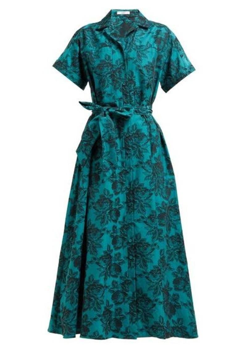Erdem Cypress belted floral-jacquard midi shirtdress