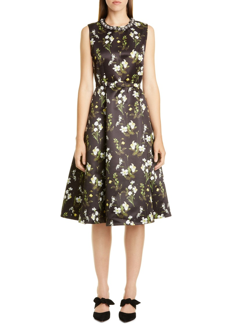 Erdem Daffodil Print Mikado A-Line Dress