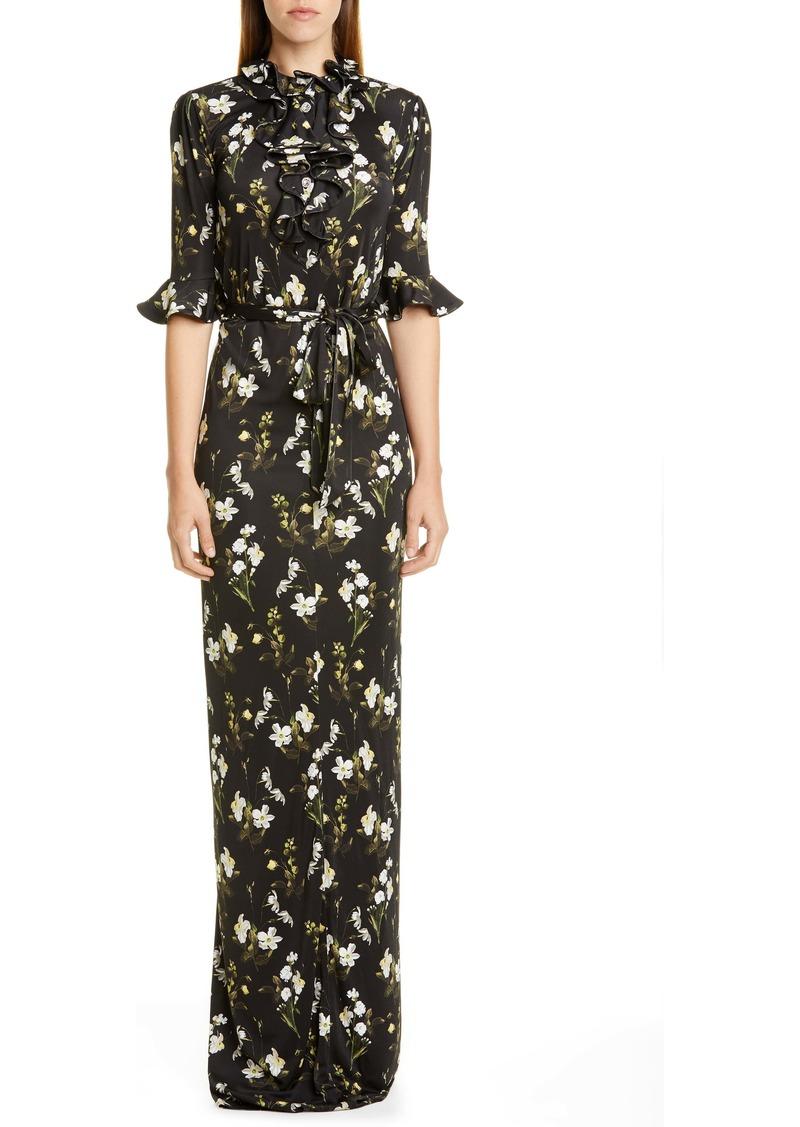 Erdem Daffodil Print Ruffle Neck Column Gown