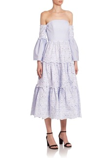 Erdem Dee Bell Sleeve Tiered Midi Off-The-Shoulder Dress