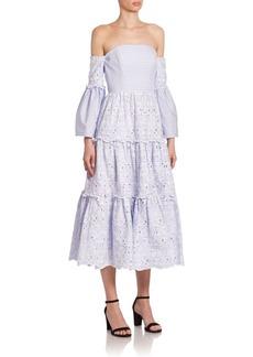 Erdem Dee Tiered Midi Off-The-Shoulder Cotton Dress