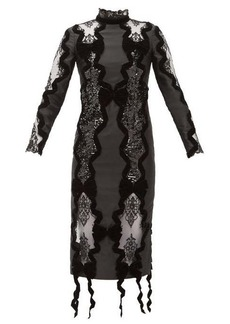 Erdem Deletta lace-insert velvet and sequin fitted dress