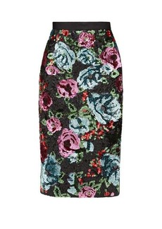 Erdem Dencia sequinned-florals satin skirt