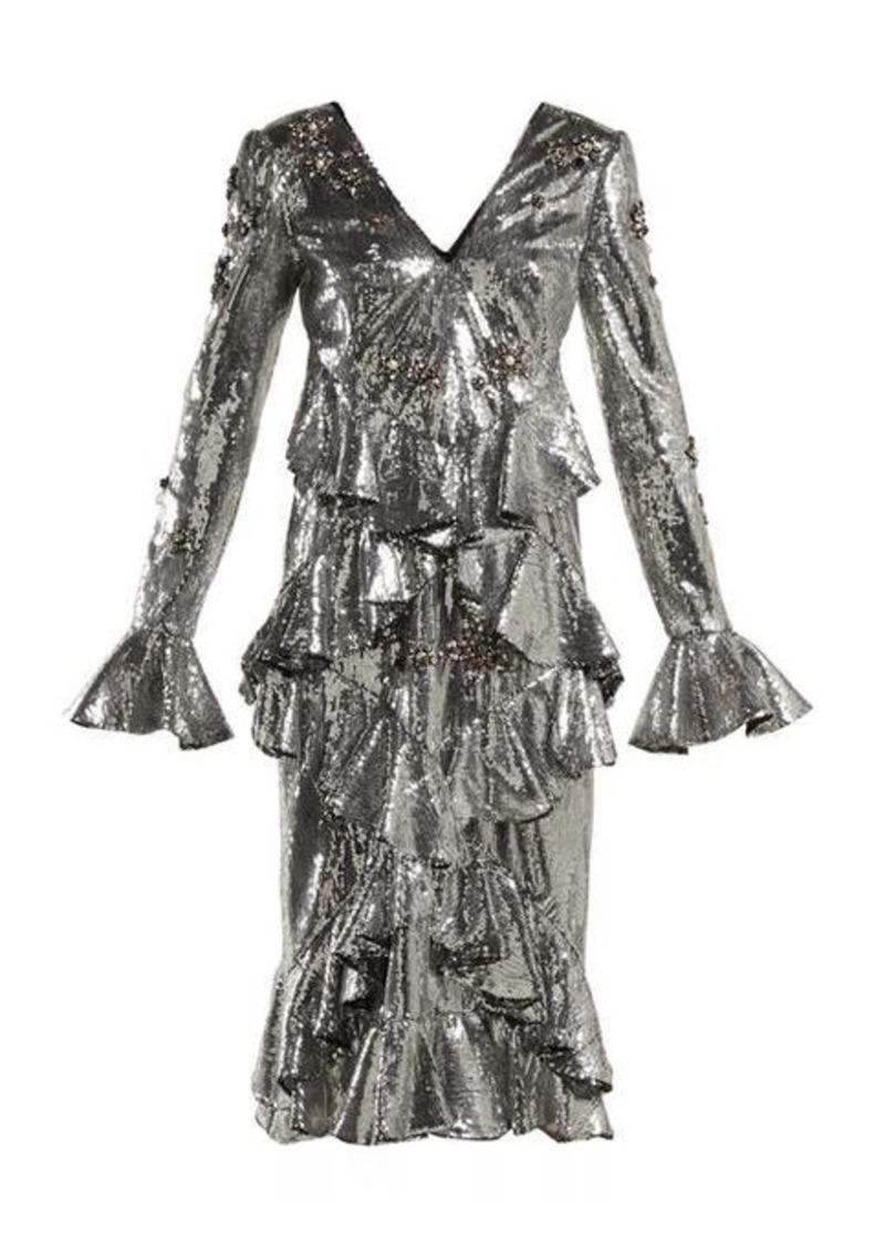 Erdem Desiree ruffled sequin dress