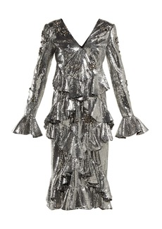 Erdem Desiree ruffled sequin dress