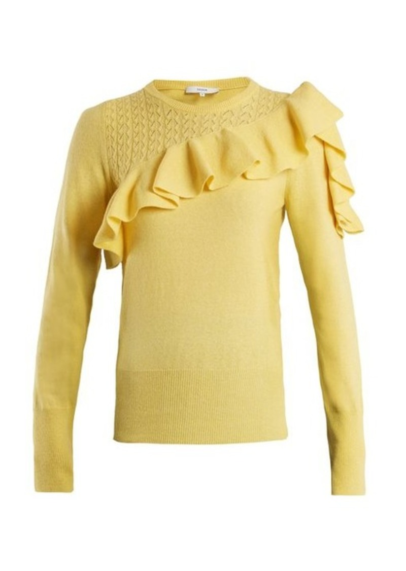 Erdem Dharma ruffle-trimmed knit sweater