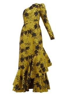 Erdem Doriana floral-jacquard fil-coupé satin gown
