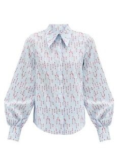 Erdem Edith spot fil-coupé striped-twill blouse
