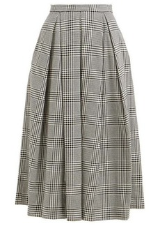 Erdem Elena checked cotton-blend midi skirt