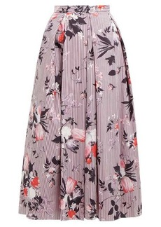 Erdem Elena Isabelle-print pleated cotton skirt