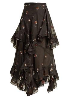 Erdem Elsa floral-embroidered tiered cotton-blend skirt