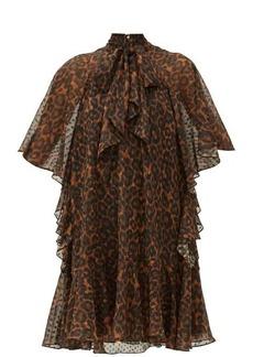 Erdem Elviretta leopard-print georgette mini dress