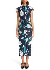 Erdem Embellished Floral Print Woven Dress