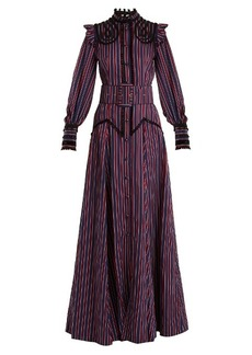 Erdem Embellished high-neck striped gown