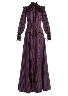 Erdem Embellished high-neck striped gown