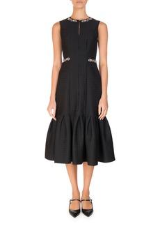 Erdem Embellished Jacquard Flounce-Hem Midi Dress