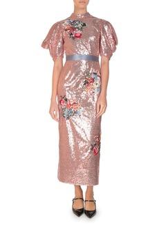 Erdem Emery Floral Sequined Midi Dress