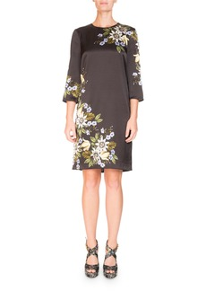 Erdem Emma Elbow-Sleeve Silk Shift Dress with Placed Floral-Print