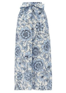 Erdem Everett Modotti Wallpaper-print linen trousers