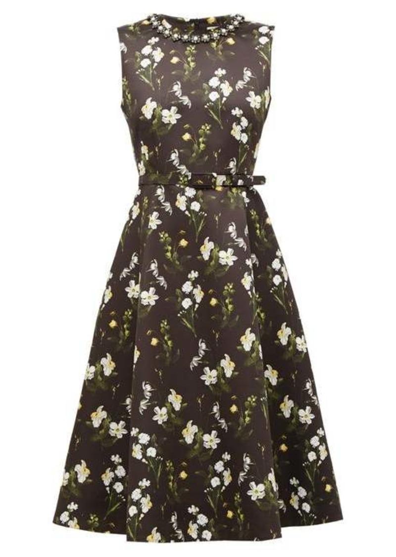 Erdem Farrah faux pearl-embellished floral-print dress
