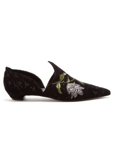 Erdem Faustina floral-embroided slipper shoes