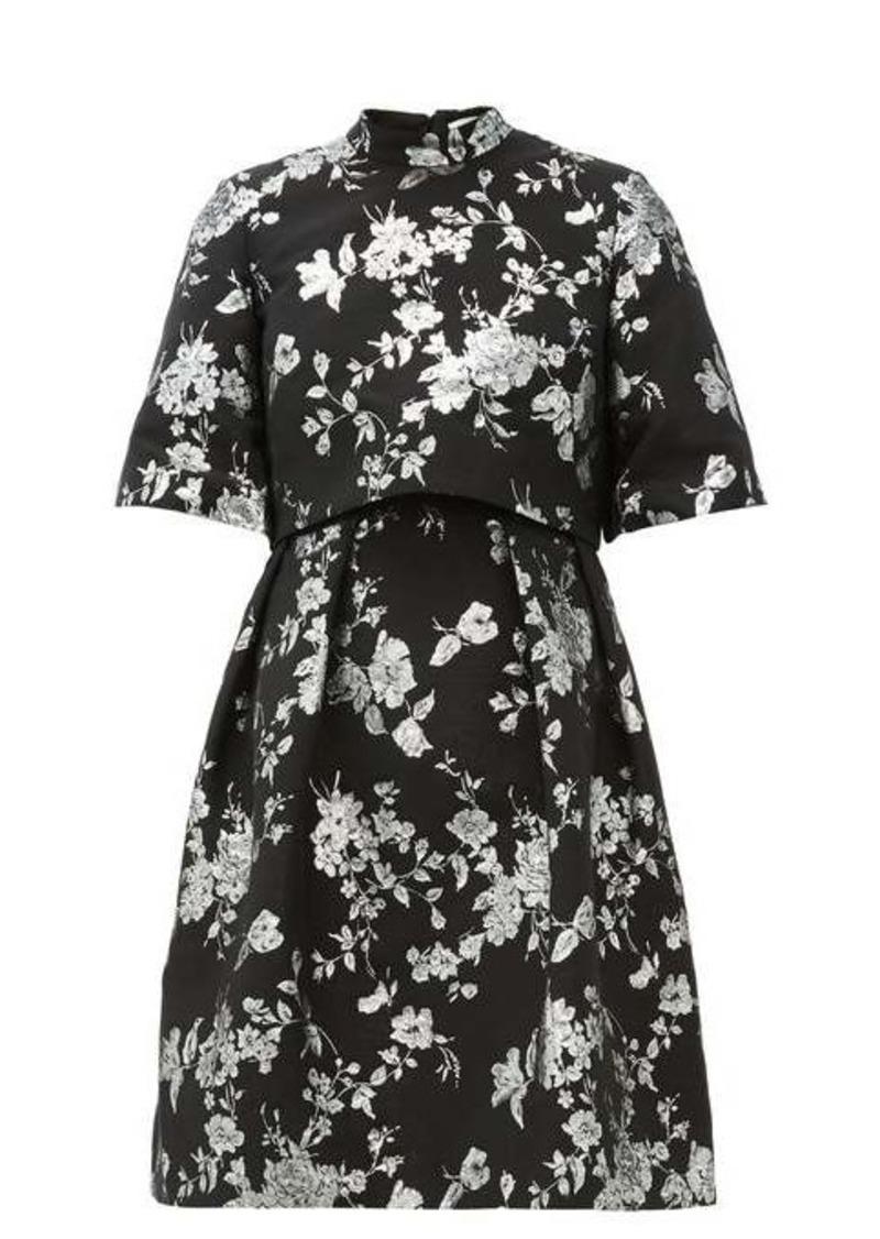 Erdem Favilla cape-back brocade mini dress