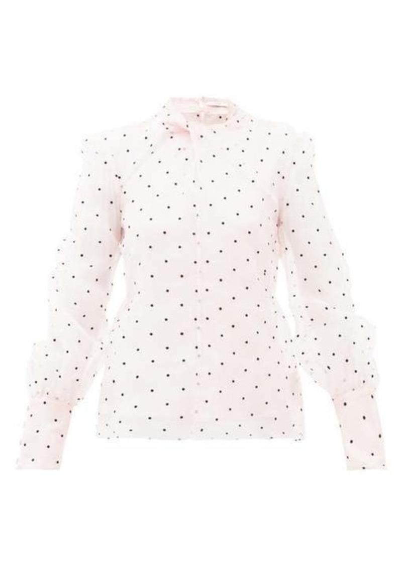Erdem Fayola polka dot-flocked silk-blend organza blouse