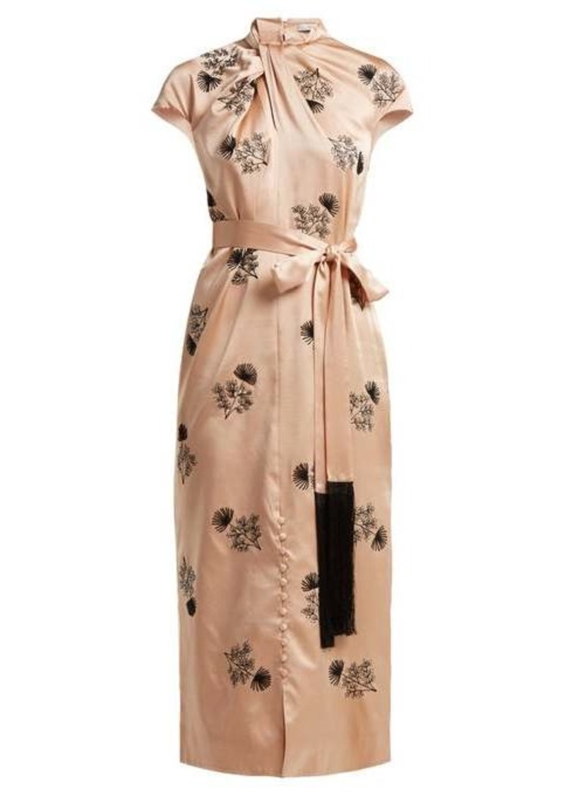 Erdem Finn floral-beaded silk-satin dress