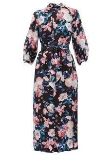 Erdem Finnetta Dusk Bouquet-print silk-crepe dress