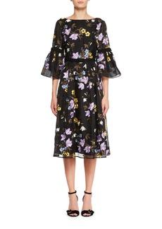Erdem Floral-Embroidered V-Back A-Line Midi Dress