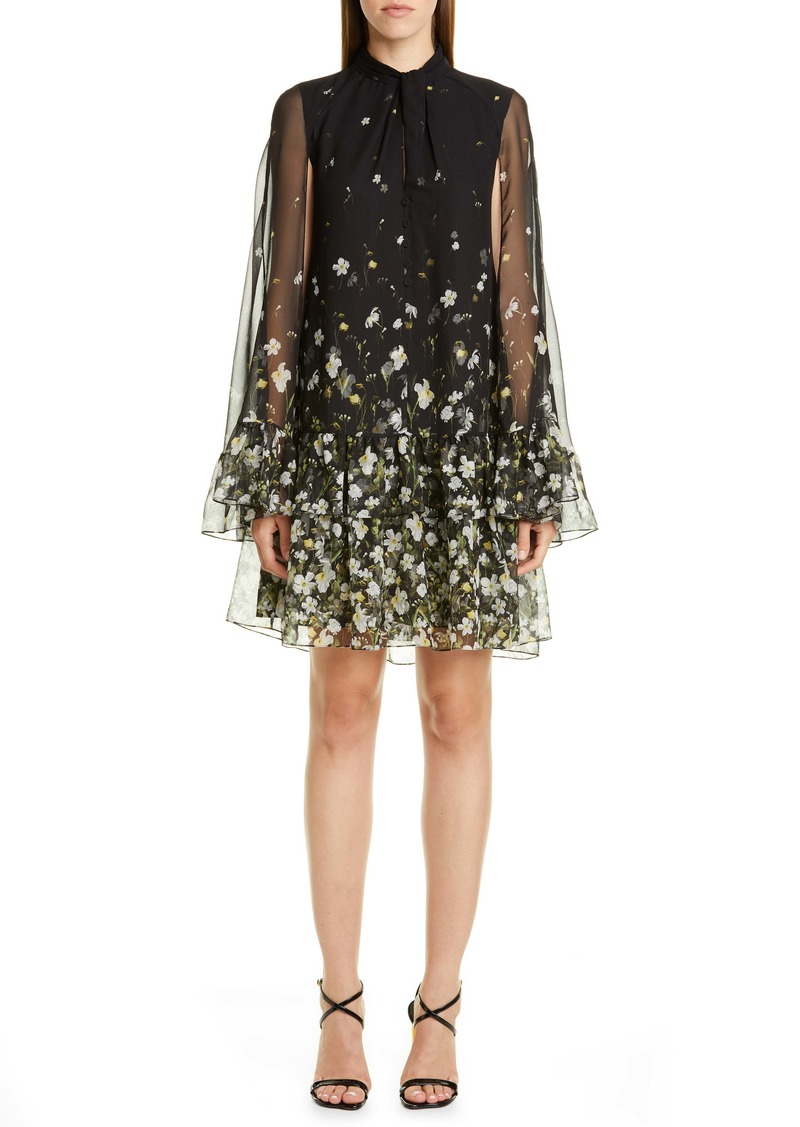 Erdem Floral Flounce Cape Sleeve Shift Dress