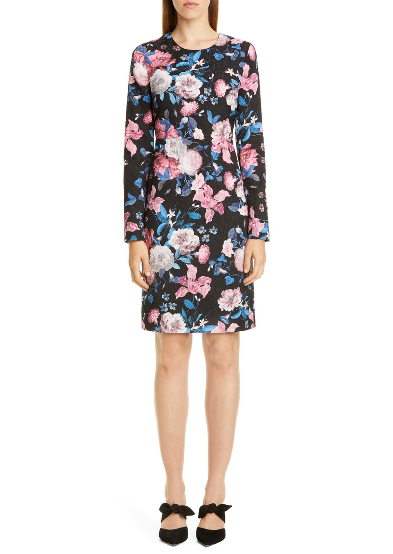 Erdem Floral Matelassé Long Sleeve Sheath Dress