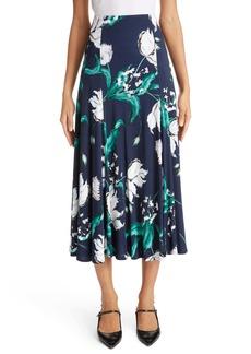 Erdem Floral Print Jersey Midi Skirt
