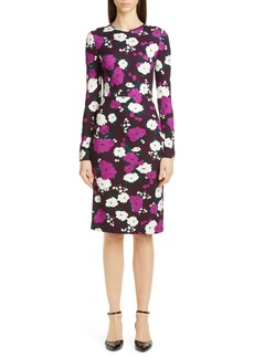 Erdem Floral Print Long Sleeve Jersey Sheath Dress