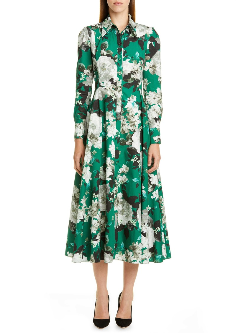 Erdem Floral Print Long Sleeve Midi Shirtdress