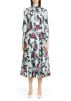 Erdem Floral Print Long Sleeve Poplin Midi Shirtdress