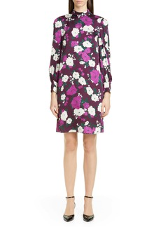 Erdem Floral Print Long Sleeve Satin Shift Dress