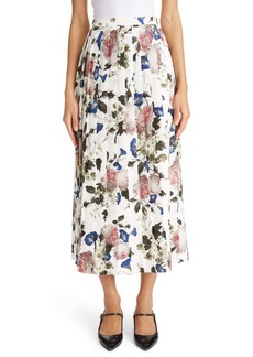 Erdem Floral Print Pleated Satin Jacquard Midi Skirt