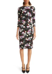 Erdem Floral Print Ponte Knit Sheath Dress