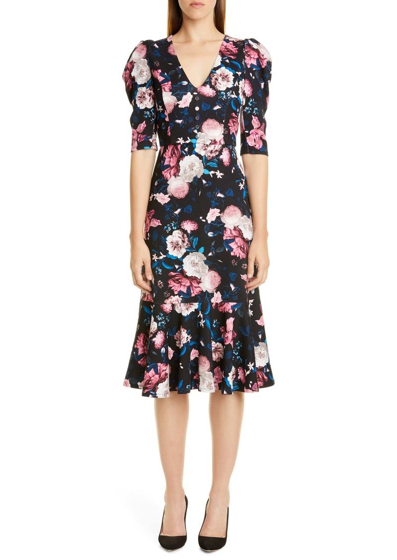 Erdem Floral Print Ruffle Hem Jersey Dress