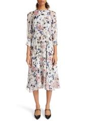 Erdem Floral Print Silk Voile Midi Dress