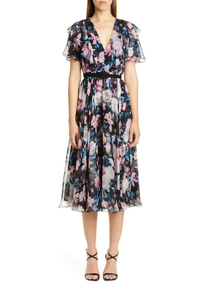 Erdem Floral Ruffle Silk Chiffon Midi Dress