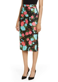 Erdem Floral Scuba Twill Pencil Skirt