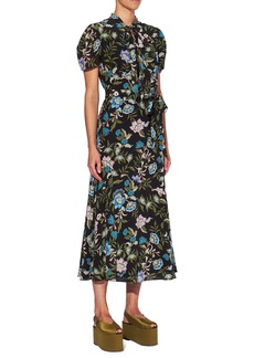 Erdem Floral Silk Crepe Midi Dress