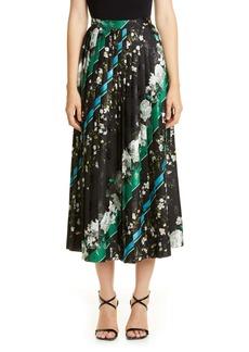 Erdem Floral Stripe Pleated Midi Skirt