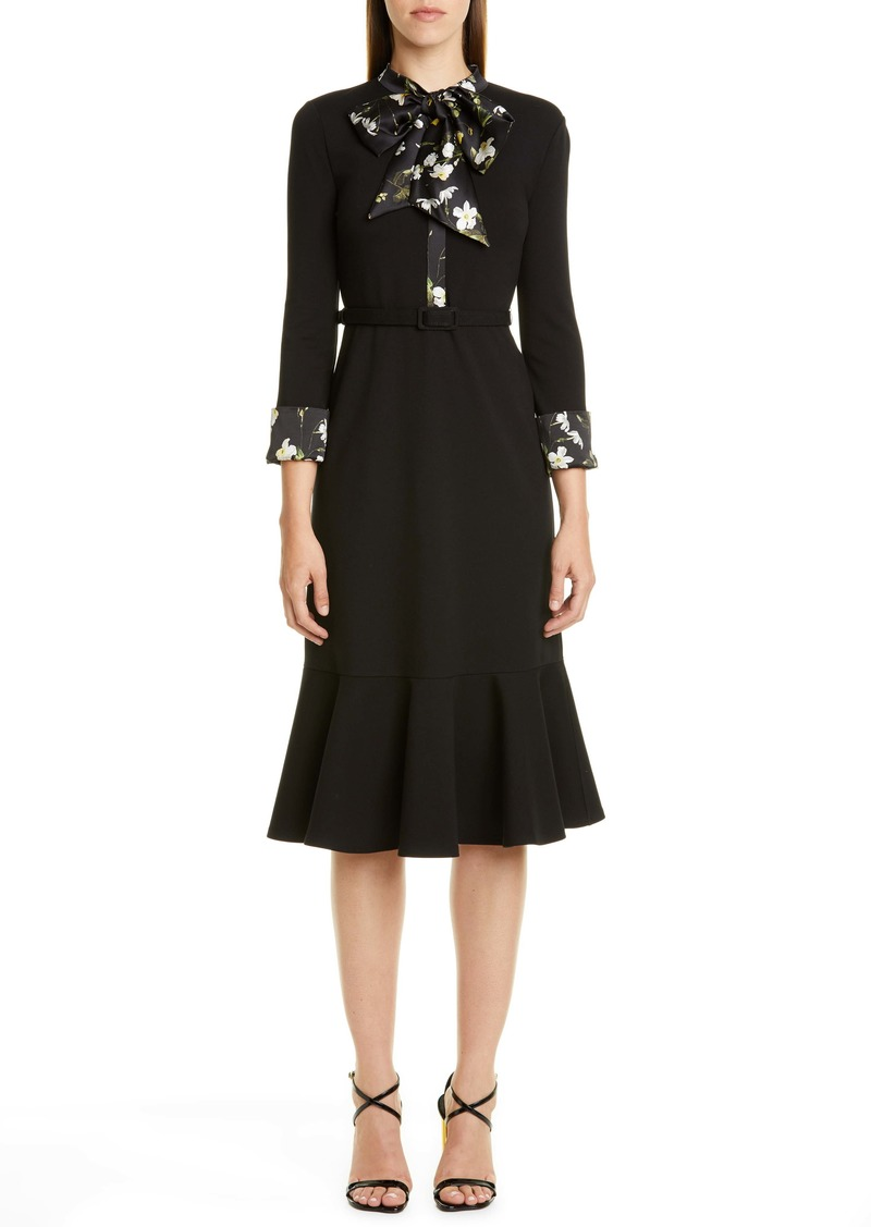 Erdem Floral Trim Belted Dress