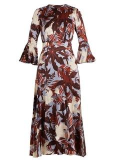 Erdem Florence fluted-cuff silk-satin dress