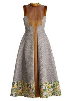 Erdem Gabriella floral and geometric-jacquard dress